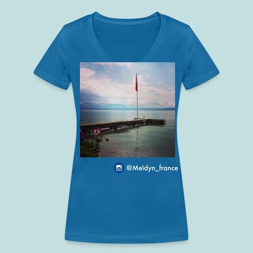 T-shirt Meïdyn_france Lac Léman - Blue logo - T-shirt bio col V Stanley & Stella Femme