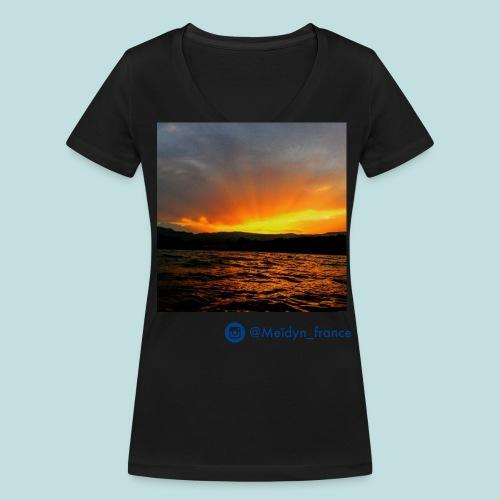 T-shirt Meïdyn_france Sunset over the mountain - Blue logo - T-shirt bio col V Stanley & Stella Femme