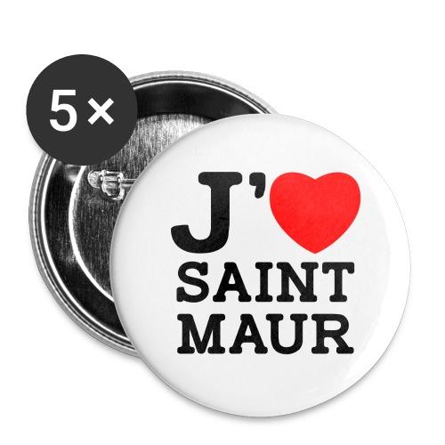 5 badges 25mm J'aime Saint-Maur - Badge petit 25 mm