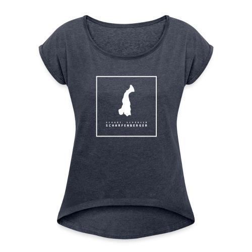 T-Shirt Logo weiß nur vorne - Frauen T-Shirt mit gerollten Ärmeln