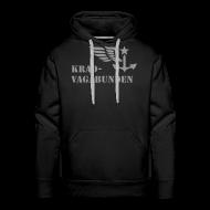 Pullover & Hoodies ~ Männer Premium Kapuzenpullover ~ Kapuzenpulli: Logo + Schriftzug vorne (grauer Aufdruck)
