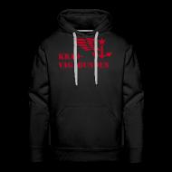Pullover & Hoodies ~ Männer Premium Kapuzenpullover ~ Kapuzenpulli: Logo + Schriftzug vorne (roter Aufdruck)