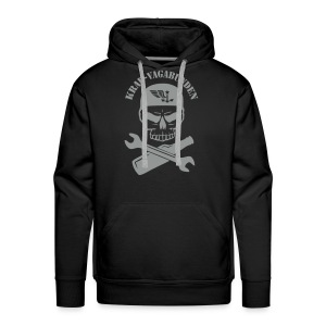 hoodie - men - wrench & bottle - grey print - Men's Premium Hoodie