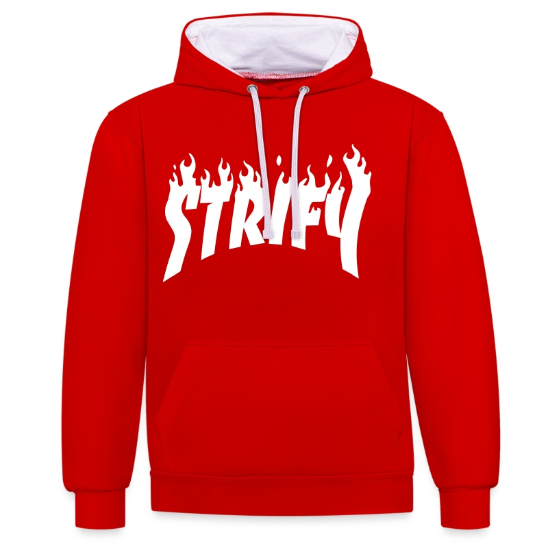Strify Red Flame Hoodie - Contrast Colour Hoodie