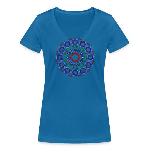 Frauen Shirt mit Blumen Mandala - Frauen Bio-T-Shirt mit V-Ausschnitt von Stanley & Stella