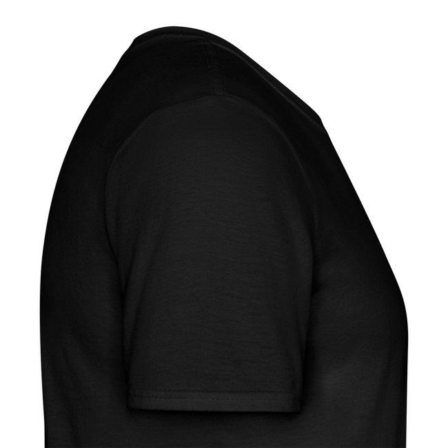 T-Shirt Mann, Folien-Text silber/weiß