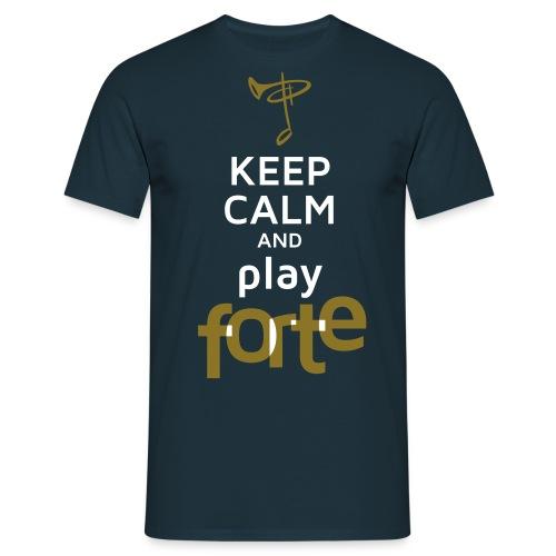 T-Shirt Mann, Folien-Text gold/weiß - Männer T-Shirt