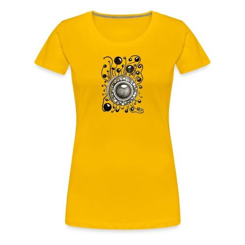 Damen Premiumshirt Soundglobe Gelb - Frauen Premium T-Shirt