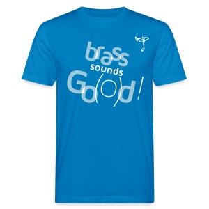 Bio T-Shirt, eigener Text auf dem Rücken, Folien-Text hellblau/weiß - Männer Bio-T-Shirt