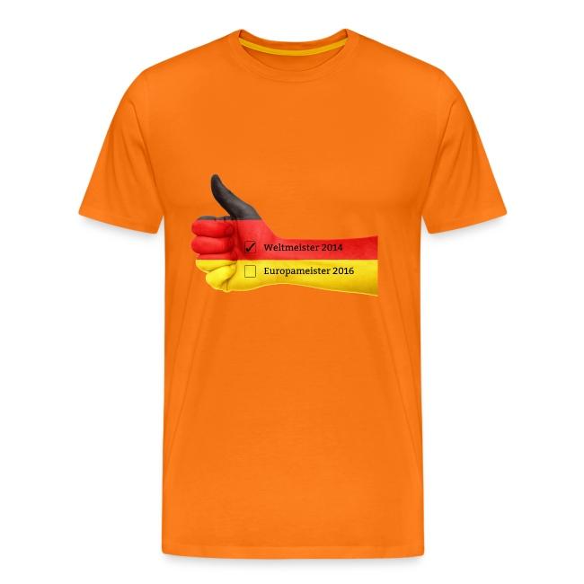 Männer Premium T-Shirt Deutschland Europameister 2016 Orange