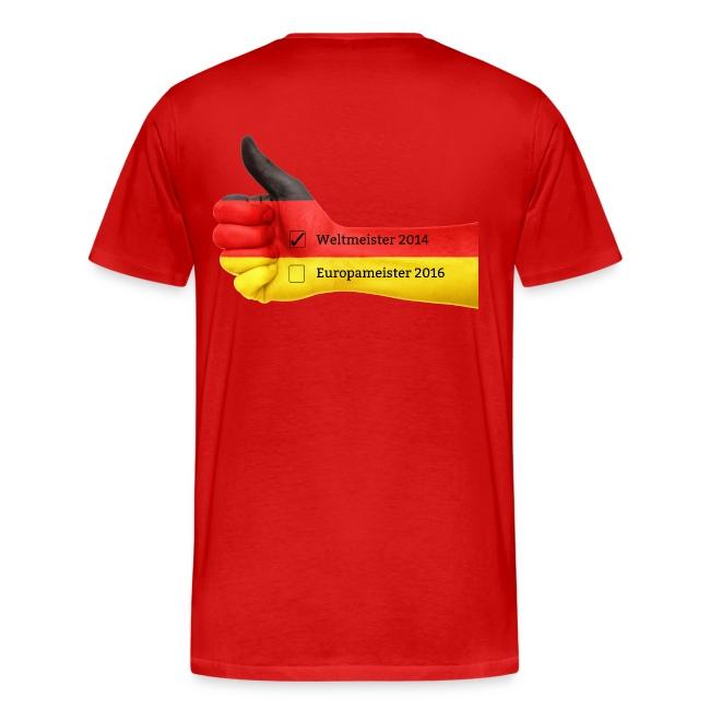 Männer Premium T-Shirt Deutschland Europameister 2016 Rot, hinten bedruckt