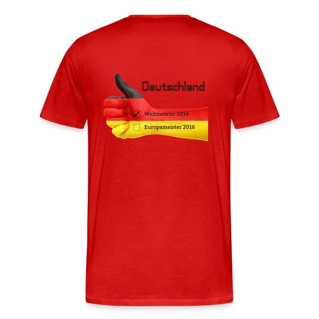"""Männer Premium T-Shirt """"Daumen hoch"""" Deutschland Europameister 2016 Rot, hinten bedruckt"""