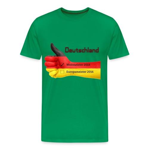 Männer Premium T-Shirt Daumen hoch Deutschland Europameister 2016 Kelly Green - Männer Premium T-Shirt