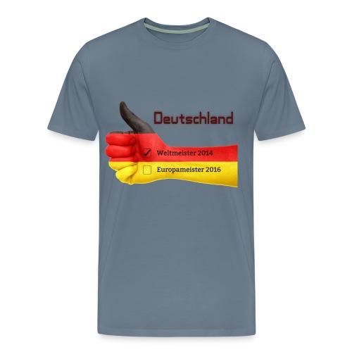Männer Premium T-Shirt Daumen hoch Deutschland Europameister 2016 Blaugrau - Männer Premium T-Shirt