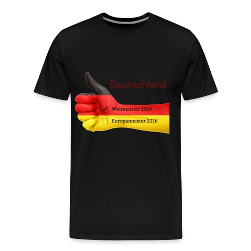 Männer Premium T-Shirt Daumen hoch Deutschland Europameister 2016 Schwarz - Männer Premium T-Shirt