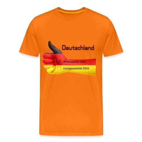 Männer Premium T-Shirt Daumen hoch Deutschland Europameister 2016 Orange - Männer Premium T-Shirt