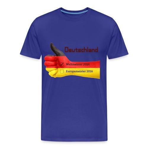 Männer Premium T-Shirt Daumen hoch Deutschland Europameister 2016 Königsblau - Männer Premium T-Shirt