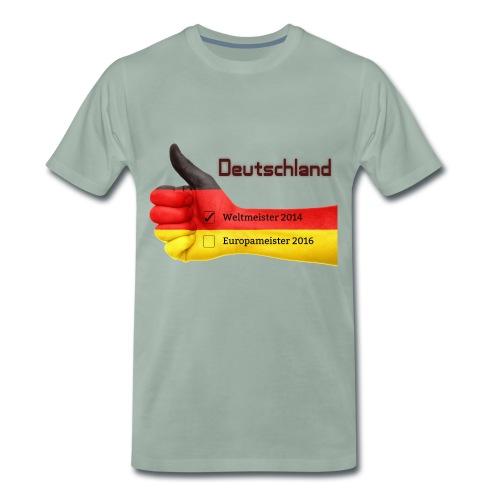 Männer Premium T-Shirt Daumen hoch Deutschland Europameister 2016 Graugrün - Männer Premium T-Shirt