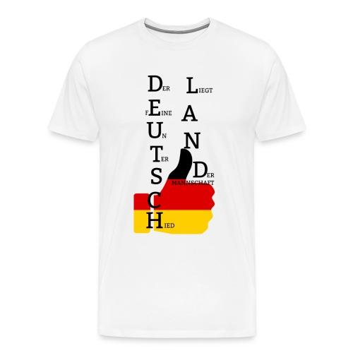 Männer Premium T-Shirt Flagge mit Daumen Deutschland Europameister 2016 Weiß - Männer Premium T-Shirt
