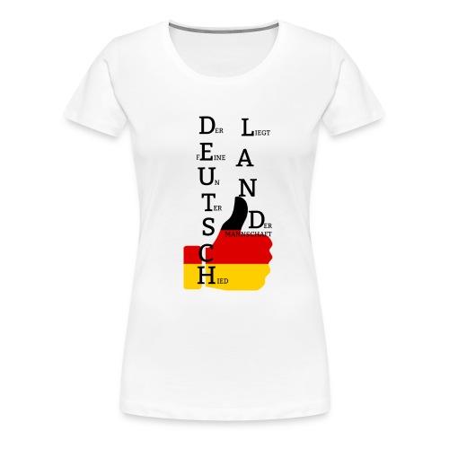 Frauen Premium T-Shirt Flagge mit Daumen Deutschland Europameister 2016 Weiß - Frauen Premium T-Shirt