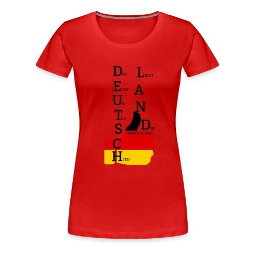 Frauen Premium T-Shirt Flagge mit Daumen Deutschland Europameister 2016 Rot - Frauen Premium T-Shirt