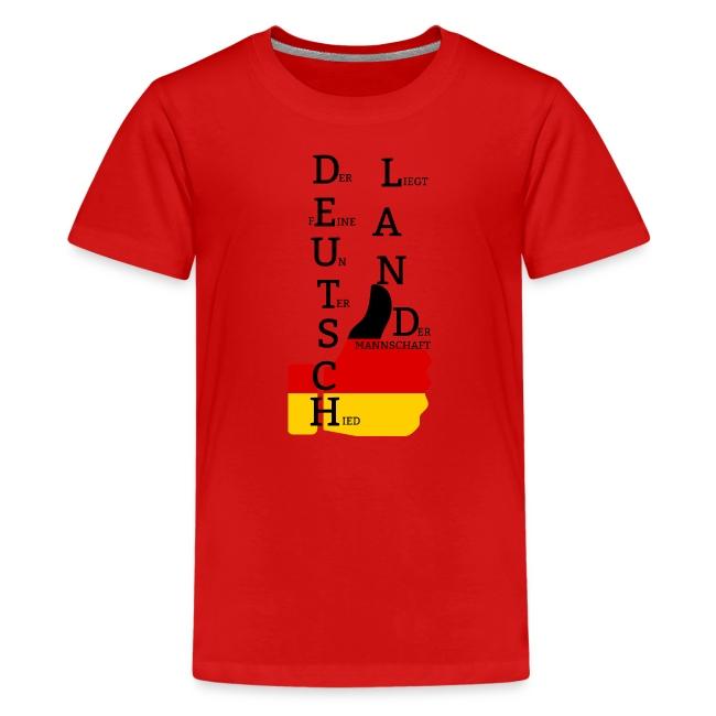 """Teenager Premium T-Shirt """"Flagge mit Daumen"""" Deutschland Europameister 2016 Rot"""