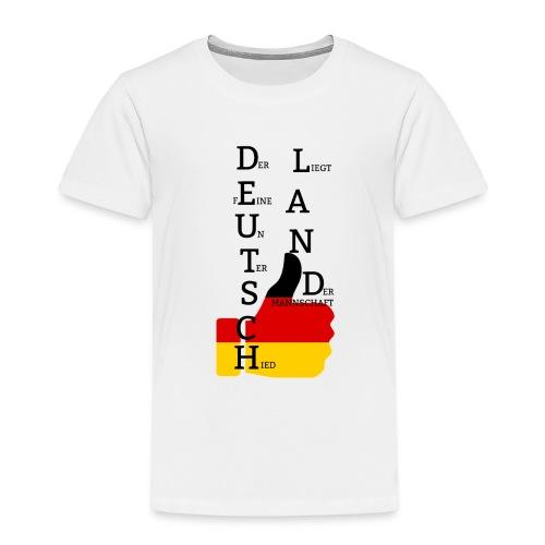 Kinder Premium T-Shirt Flagge mit Daumen Deutschland Europameister 2016 Weiß - Kinder Premium T-Shirt