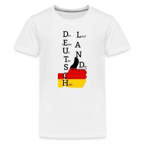 Teenager Premium T-Shirt Flagge mit Daumen Deutschland Europameister 2016 Weiß - Teenager Premium T-Shirt