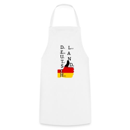 Kochschürze Flagge mit Daumen Deutschland Europameister 2016 Weiß - Kochschürze