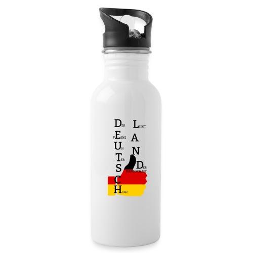 Trinkflasche Flagge mit Daumen Deutschland Europameister 2016 Weiß - Trinkflasche