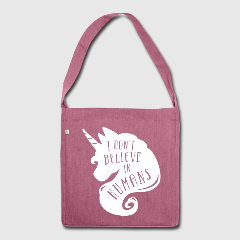 Heather plum I don´t believe in humans - unicorn Bags & Backpacks - Shoulder Bag made from recycled material