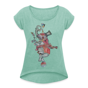 Elephant old school - Women's T-shirt with rolled up sleeves