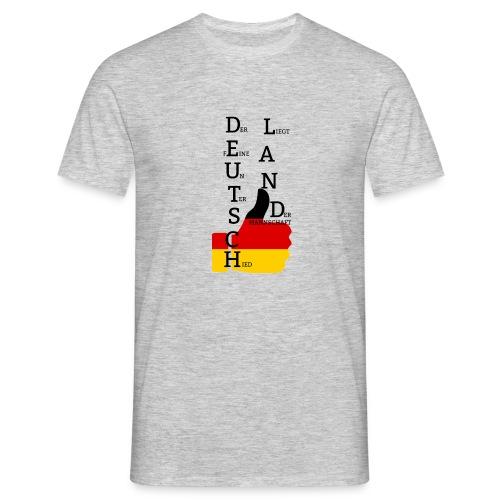 Männer T-Shirt Flagge mit Daumen Deutschland Europameister 2016 Grau meliert - Männer T-Shirt