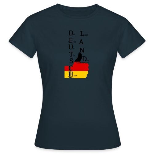 Frauen T-Shirt Flagge mit Daumen Deutschland Europameister 2016 Navy - Frauen T-Shirt