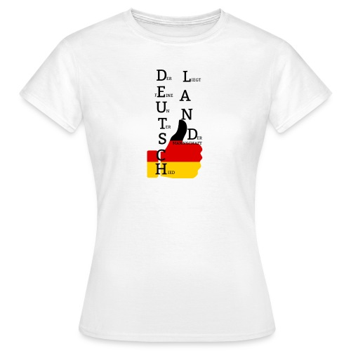 Frauen T-Shirt Flagge mit Daumen Deutschland Europameister 2016 Weiß - Frauen T-Shirt