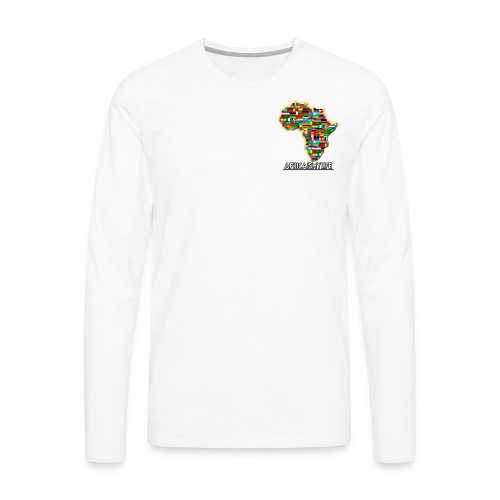 White sweatshirt with small Africaismylife logo - Men's Premium Longsleeve Shirt