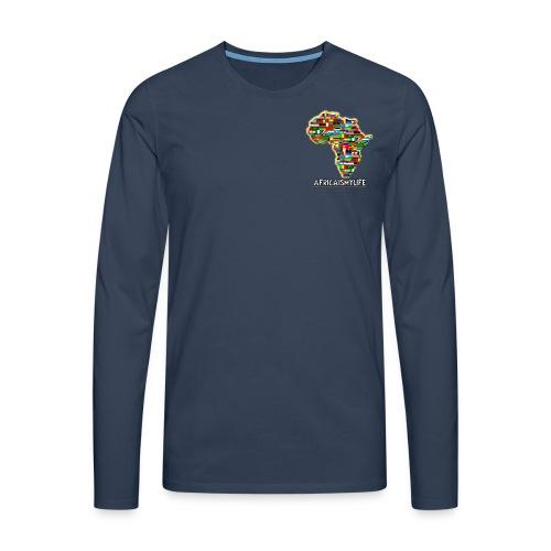 Navy blue sweatshirt with small Africaismylife logo - Men's Premium Longsleeve Shirt