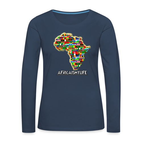 Blue sweatshirt with full sized Africaismylife logo - Women's Premium Longsleeve Shirt