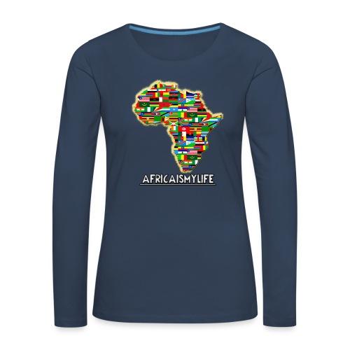 Blue sweatshirt with full sized Africaismylife logo - Women's Premium Longsleeve Shirt