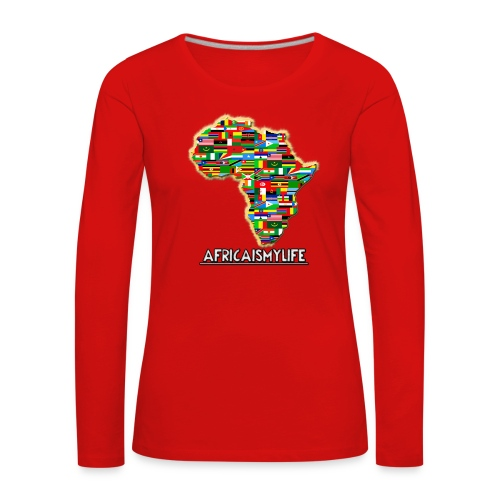 Red sweatshirt with full sized Africaismylife logo - Women's Premium Longsleeve Shirt