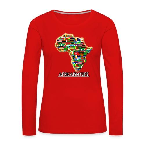 Red sweatshirt with full sized Africaismylife logo - Women's Premium Longsleeve Shirt