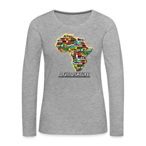Light Grey sweatshirt with full sized Africaismylife logo - Women's Premium Longsleeve Shirt