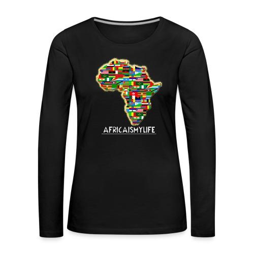 Black sweatshirt with full sized Africaismylife logo - Women's Premium Longsleeve Shirt
