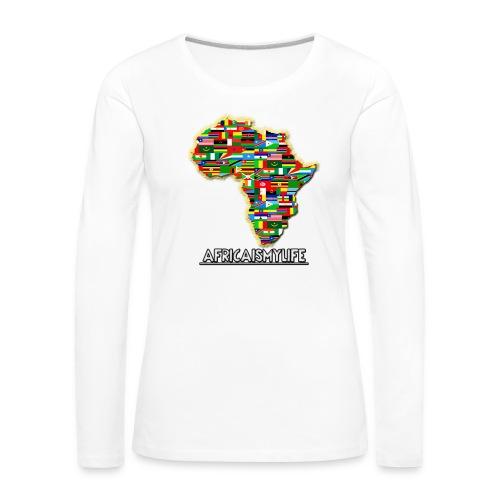 White sweatshirt with full sized Africaismylife logo - Women's Premium Longsleeve Shirt