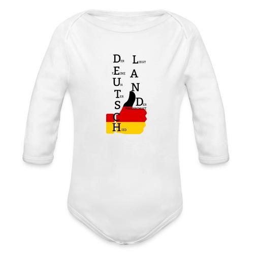 Baby Langarm-Body Flagge mit Daumen Deutschland Europameister 2016 Weiß - Baby Bio-Langarm-Body