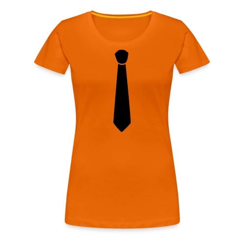 Dames shirt met stropdas.. sexy!  - Vrouwen Premium T-shirt