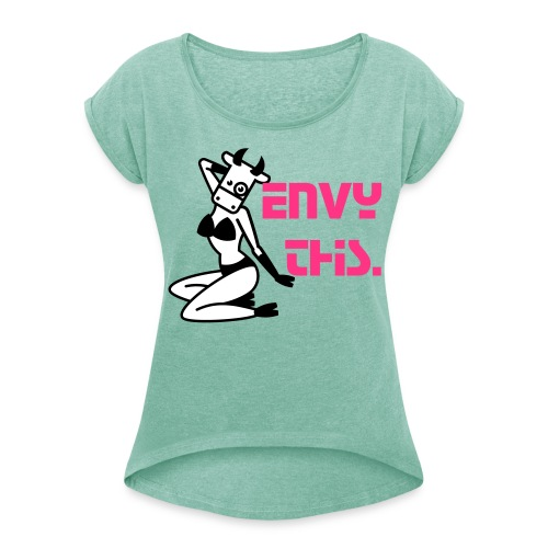 Envy This - Cow Tee (Womens) - Women's T-Shirt with rolled up sleeves
