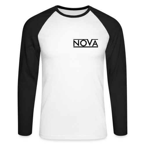 Nova Black Men's Long Sleeve Baseball T-Shirt - Men's Long Sleeve Baseball T-Shirt