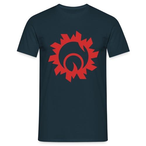 Bullethole logo, red on blue - Herre-T-shirt
