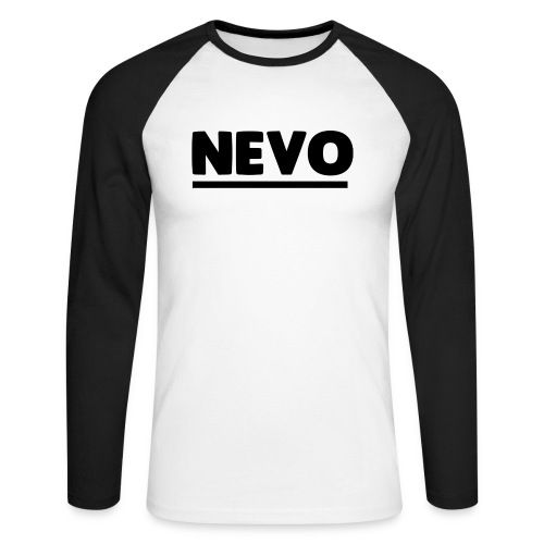 Large Text Nevo Baseball Tee Long Sleve - Men's Long Sleeve Baseball T-Shirt